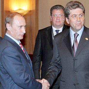 Костадин Филипов, Първанов и Путин след договора, дал старт на Южен поток