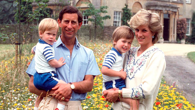 Даяна, Чарлз и принцовете Уилям и Хари