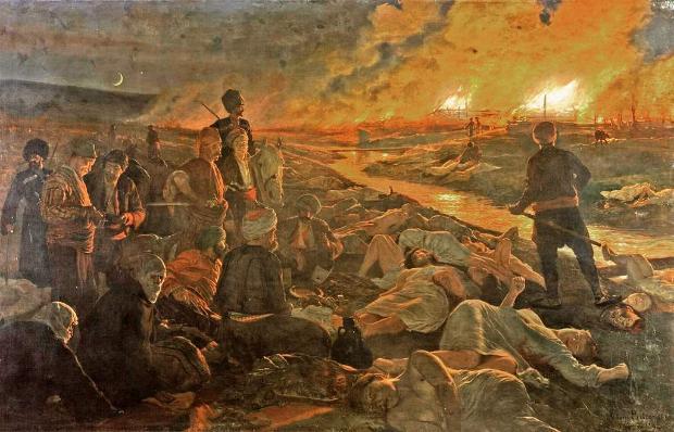 клането в Батак, картина на Пиотровский, батакская резня, 1889 год.