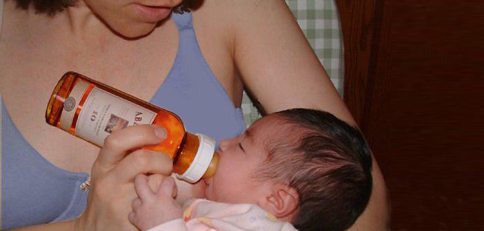 бебе, алкохол, майка, бърбън