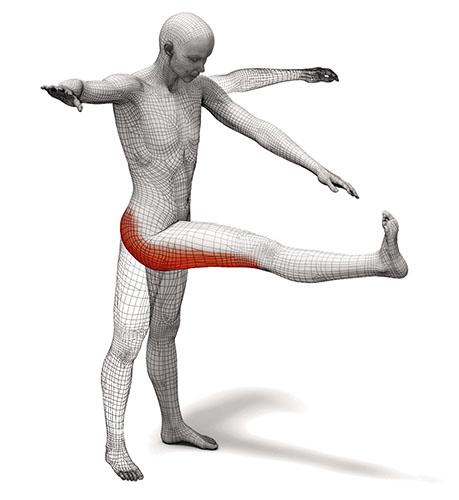 Примери за динамично разтягане Маршируване с изпънат крак (глутеус и задно бедро)