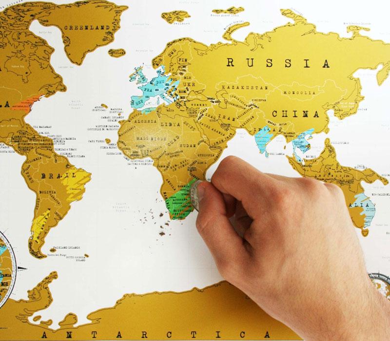 Световна карта за изтриване, подарък за дипломиране