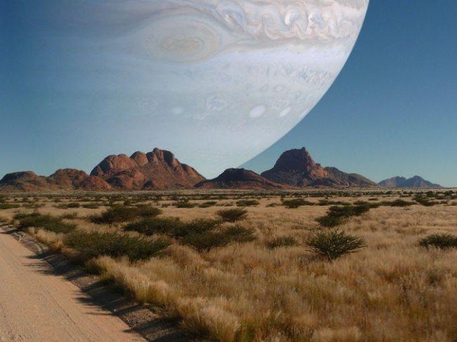 любопитни факти, така би се виждат Юпитер от Земята, ако беше на мястото на Луната